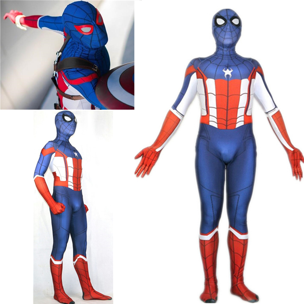 Spider Man Captain America Cosplay Costume Zentai Superhero Spiderman Bodysuit Suit Jumpsuits