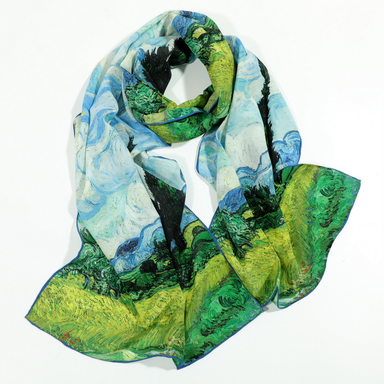 Oil Painting with Hand Curling Print Pure Silk   Scarf   Women's   Scarves   Fashion Neck Wear Accessory Scarfs   Wraps   ZSCJ14