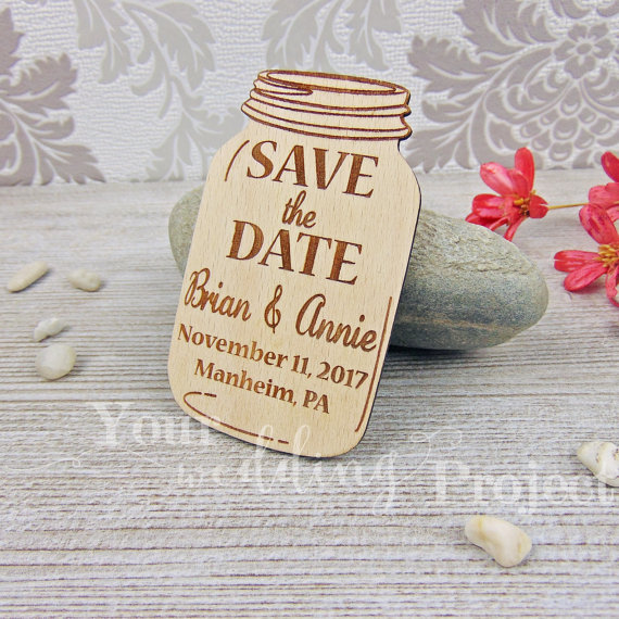 Aliexpress Mason Jar Save The Date Magnet Rustic Wedding Favor Engraved Wooden Decoration Wood Magnets From Reliable Decorative