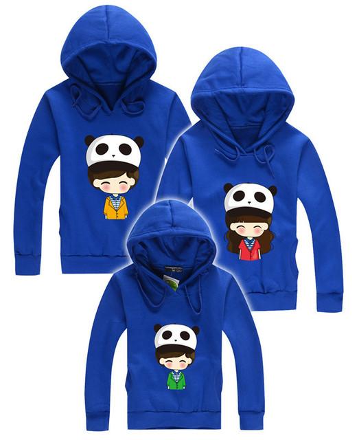 2015 inverno crianças hoodies roupas família mãe filha pai e filho combinação panda ternos roupas mamãe e me roupas