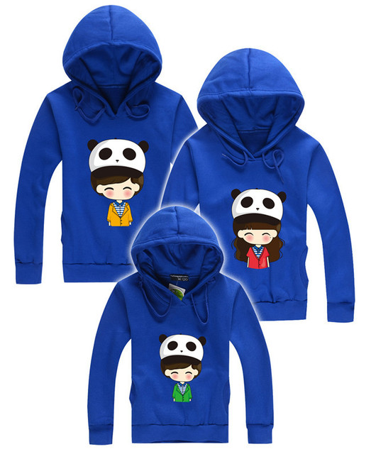 2015 winter family clothing children hoodies panda matching mother daughter father and son suits clothes mommy and me clothes