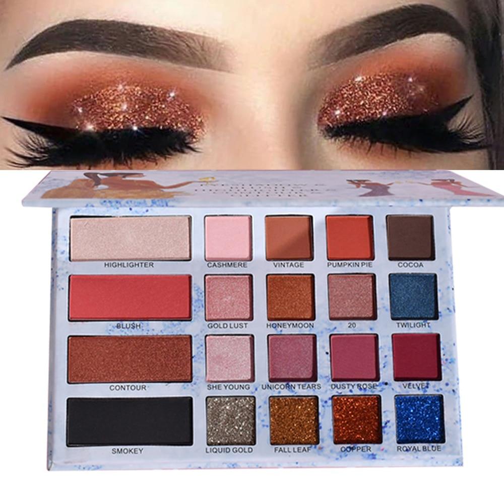 ROSAWEE Glitter Eyeshadow Palette Blending Makeup Cosmetics Shimmer Powder Highlighter Shadow Contour 20 Color Maquiagem