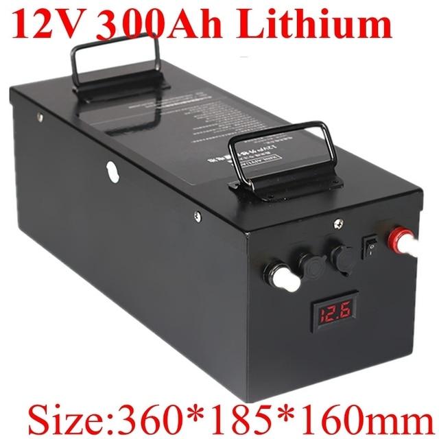 Şarj edilebilir 12V 300Ah lityum Li Ion pil paketi için güneş güneş enerjisi depolama sistemi/elektrikli gemi vinci/RV/GÜNEŞ PANELI + 20Acharger