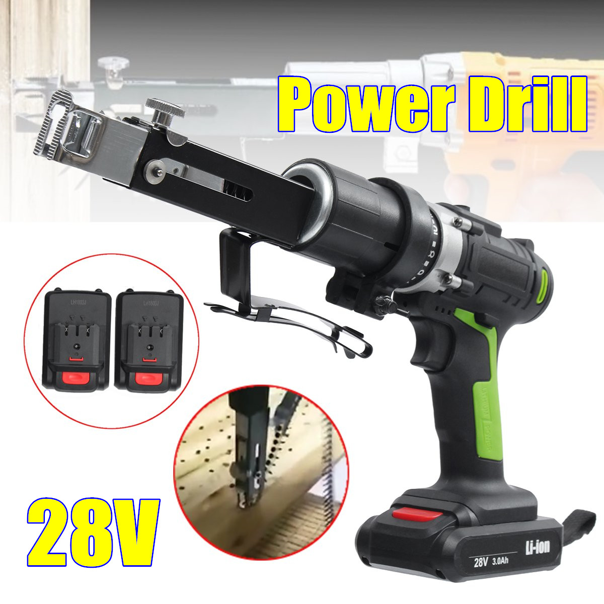 28V Max Electric Screwdriver Cordless Drill Mini Wireless Power Driver DC Lithium-Ion Battery With 2 Lithium Battery 18v dc lithium ion battery cordless drill driver power tools screwdriver electric drill with battery included