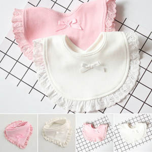 Infant Bibs Saliva-Towels Lace Burp Cloth Newborn Girls Boys Cotton Slabbetjes Cute Bow