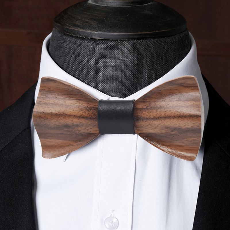 Hight Quality 3D Solid Wooden Bowtie Men Fashion Wedding Party Wooden Bow Tie