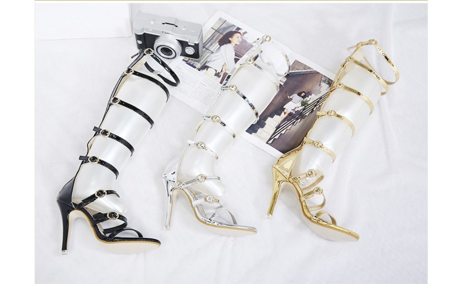 Women knee high summer strappy gladiator sandals