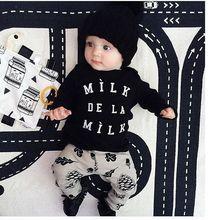 Одежда для маленьких мальчиков и девочек весенние комплекты унисекс из футболки с длинными рукавами и штанов костюм из 2 предметов принт MILK DELA MILK для детей от 3 до 24 месяцев