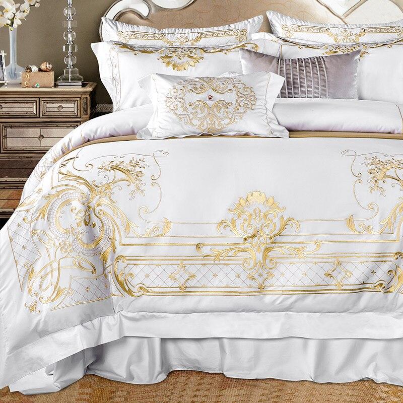 Blanc Égyptien ensemble de literie en coton Super Roi Reine taille parure de lit De Luxe D'or Broderie ensembles linge de lit drap de lit ensemble housse de couette