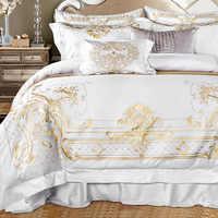 Ensemble de literie en coton égyptien blanc ensemble de lit Super King Queen ensemble de literie de luxe broderie dorée ensemble de draps housse de couette