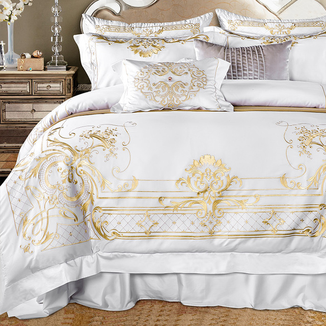 White Egyptian Cotton Bedding Set Super King Queen Size Bed Luxury Golden Embroidery Sets Sheet Duvet Cover In From Home