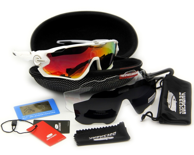 2017 Most Popular Queshark Brand TR90 Frame Polarized Sunglasses For Cycling Eyewear Cycling Glasses Bike Sunglasses