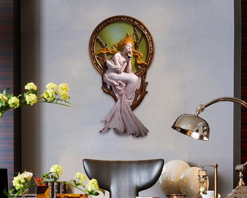 Старинная античная бронза Искусство и ремесла для молодых девушек медная стена скульптура украшение художественные поделки украшения на с... - 6