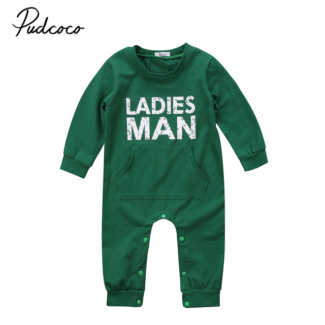 28b273c1f Newborn Baby Infant Boy Ladies Man Long Sleeve Romper Pocket Cotton ...