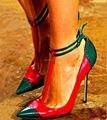 Moda Color Mezclado Mujeres Señalaron Toe t-strap Tacones Altos Recortable Gladiador Mujeres Bombas Sexy Stiletto Tobillo Hebilla zapatos de Mujer