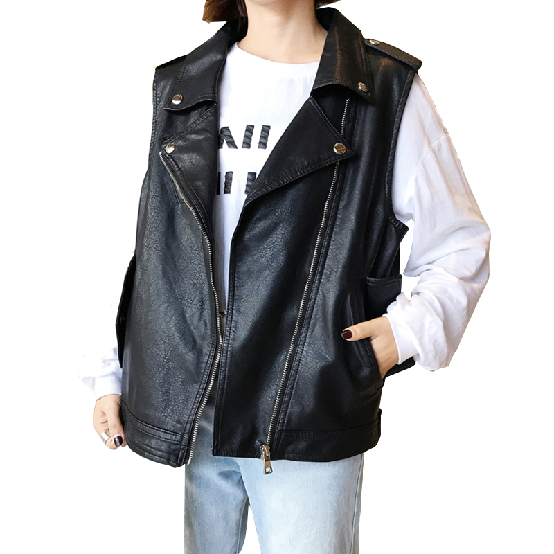 2017 automne PU/cuir sans manches femmes vestes gilet Zipper moto PU court dames col rabattu femme gilet manteaux YZX32