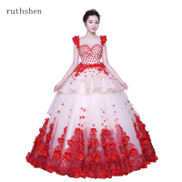 ruthshen Ball Gown Quinceanera Dresses Red Vestidos De 15 Sweet Sixteen Debutante Dress Flowers Appliques 2019 New Robe De Bal