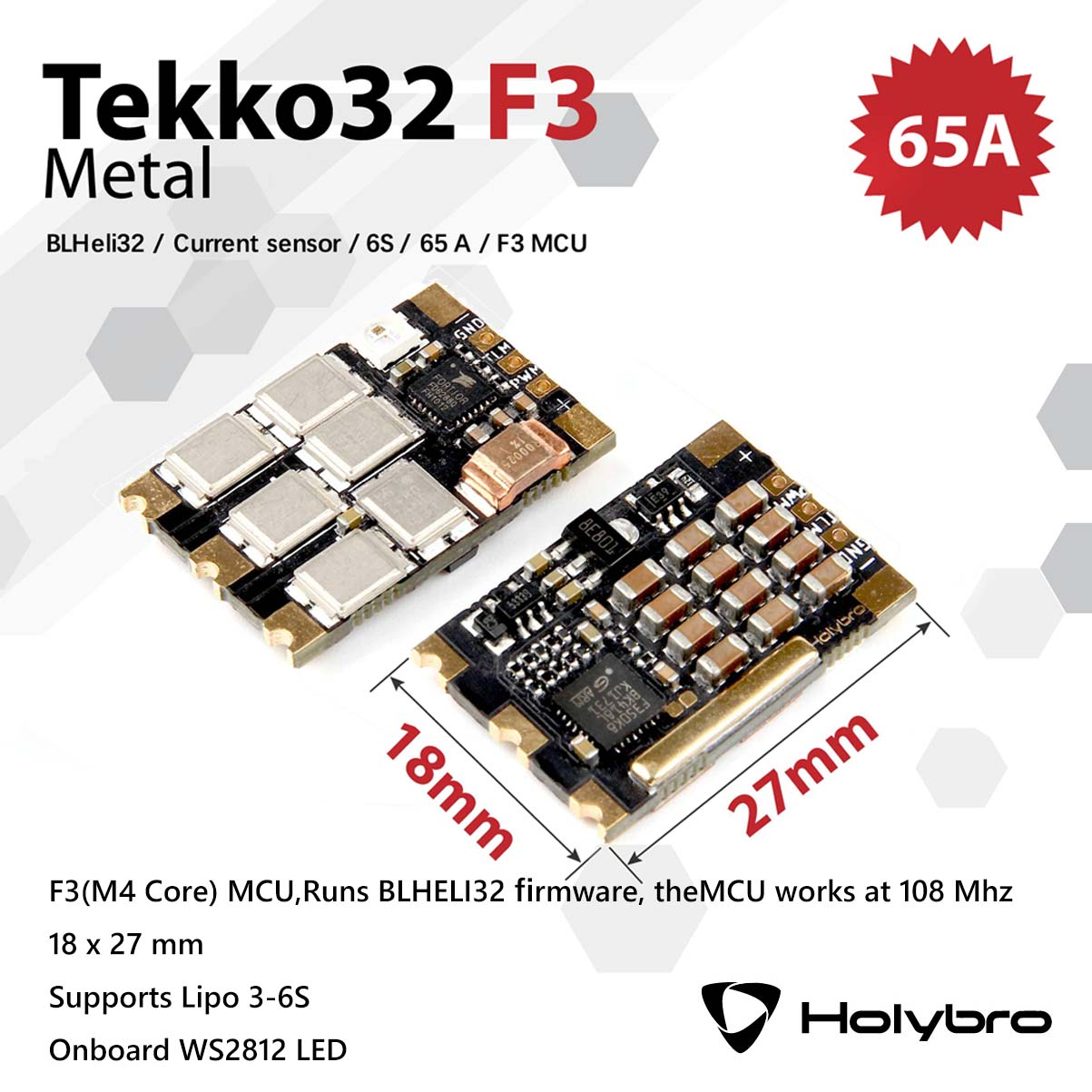 Holybro Tekko32 F3 Runs BLHELI32 Firmware Metal ESC Under Props Support Lipo3-6S