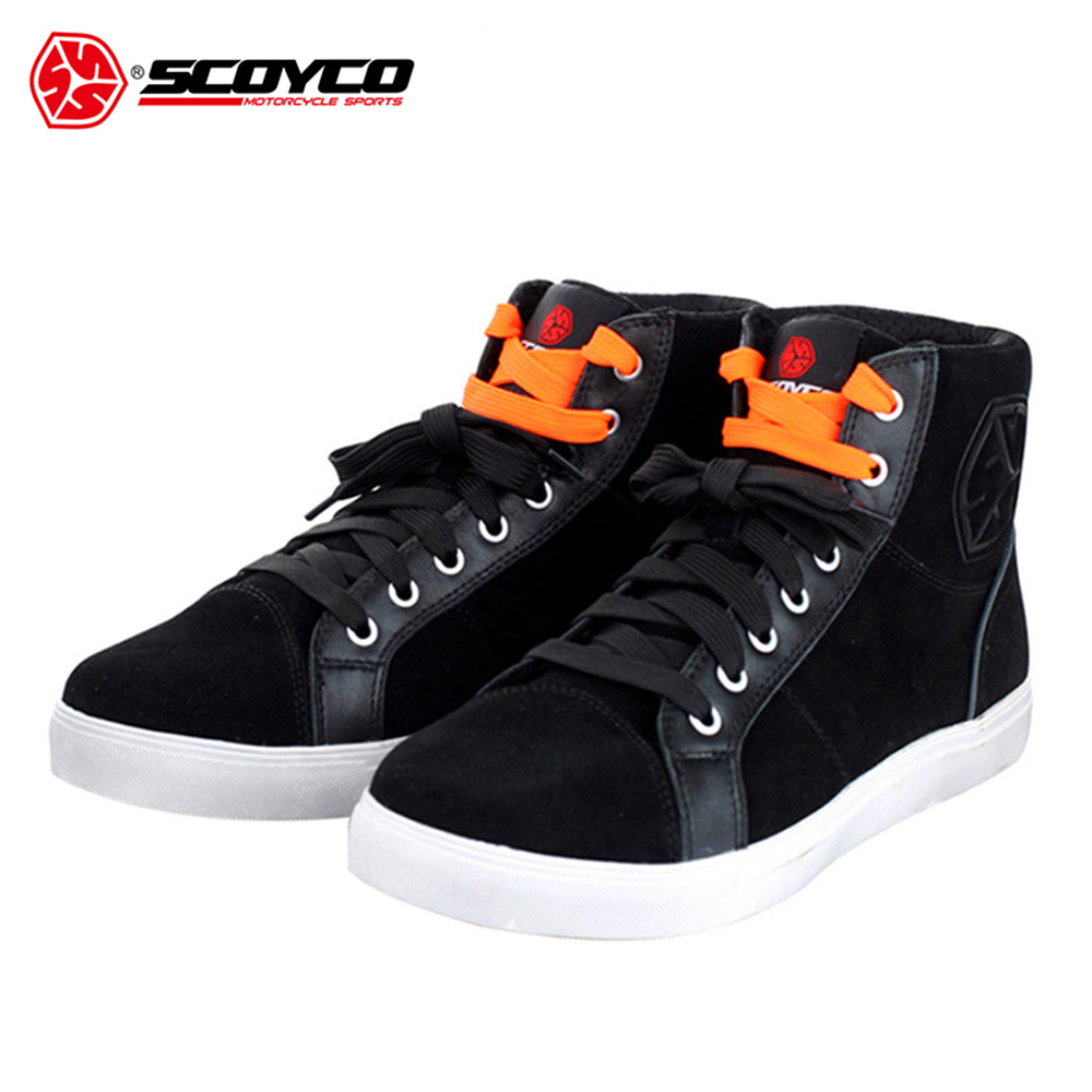 SCOYCO Motorcycle Boots Casual Motorbike Riding Shoes Brushed Leather Street Racing Boots Breathable Biker Motorcycle Shoes scoyco mbt002 motorcycle bicycle men s leather short boots black size 44