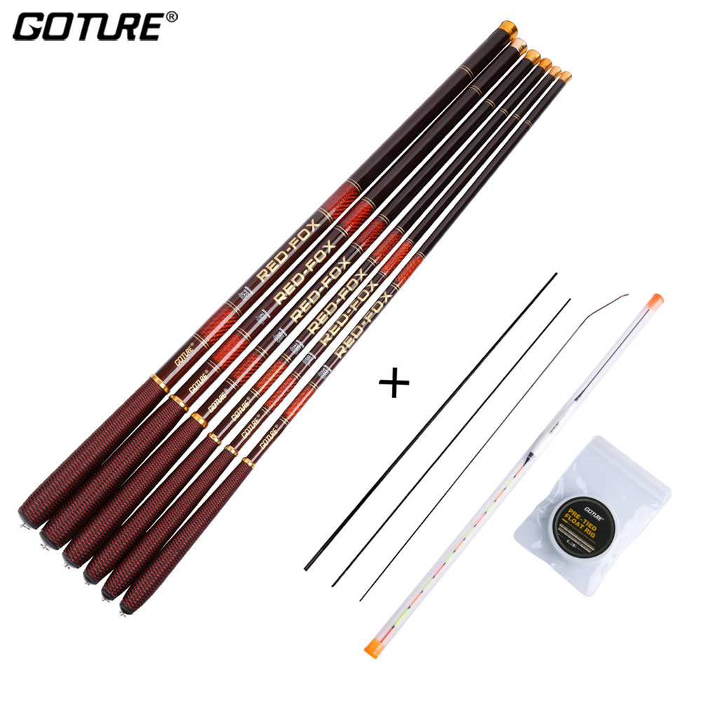 Goture 3.0M-7.2M Telescopic Fishing Rod 3/7 Power Carbon Fiber Rod Kits Stream Fishing Rod Pole + Float + Line+3Top Tips Tackles