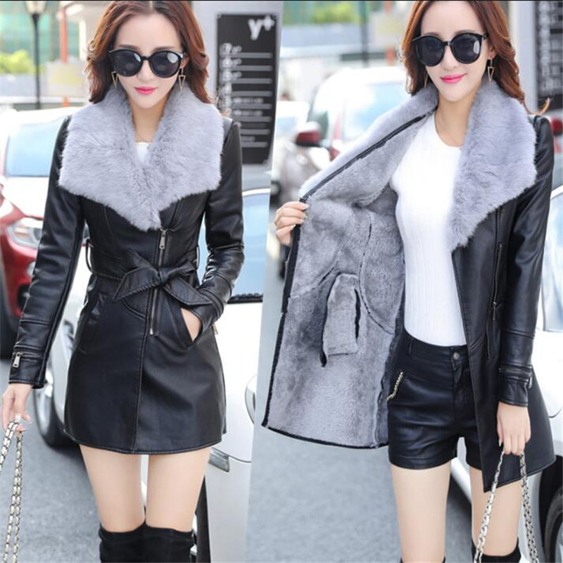 2019 New Fashion Cool Korean Long Length Real Hair Collar Pu   Leather   Slim Fit Plus Size Black And Gray Jacket For Female A3772