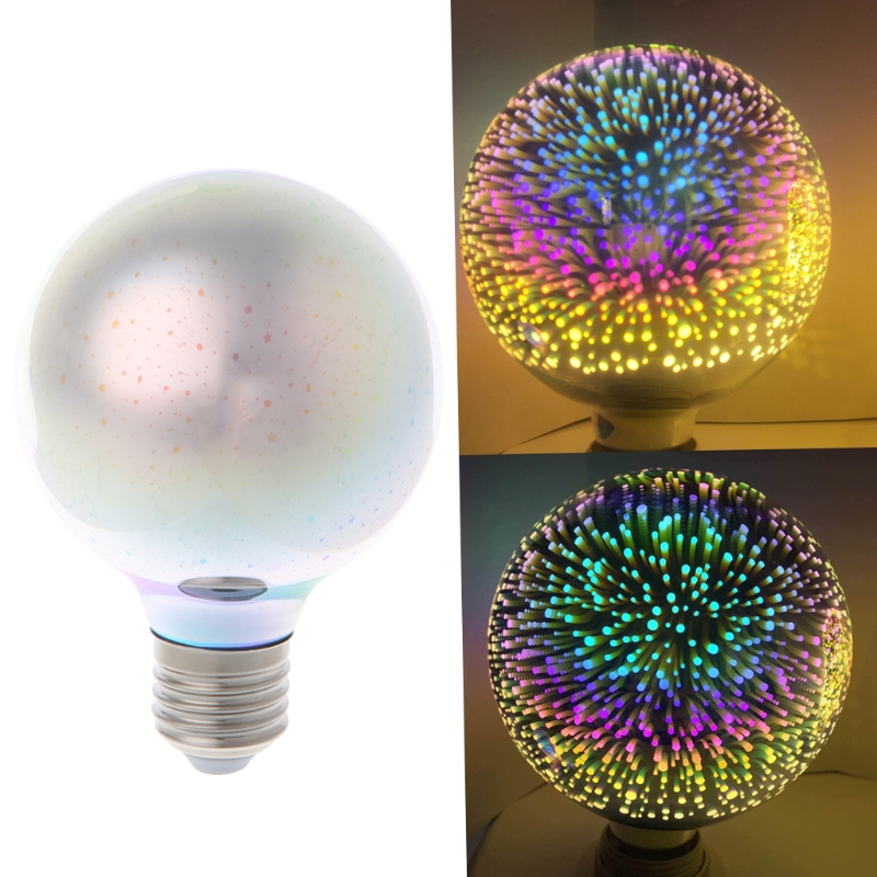E27 G80 Colourful 3D Star Shine Decoration Multiple Reflection Alluminum Plated Glass T15