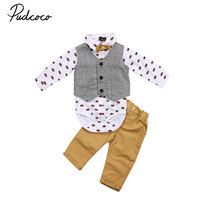 Spring Autumn Boys Gentleman Outfits Newborn Baby Boy Formal Suit Waistcoat Tops Shirt Rompers Denim Pants