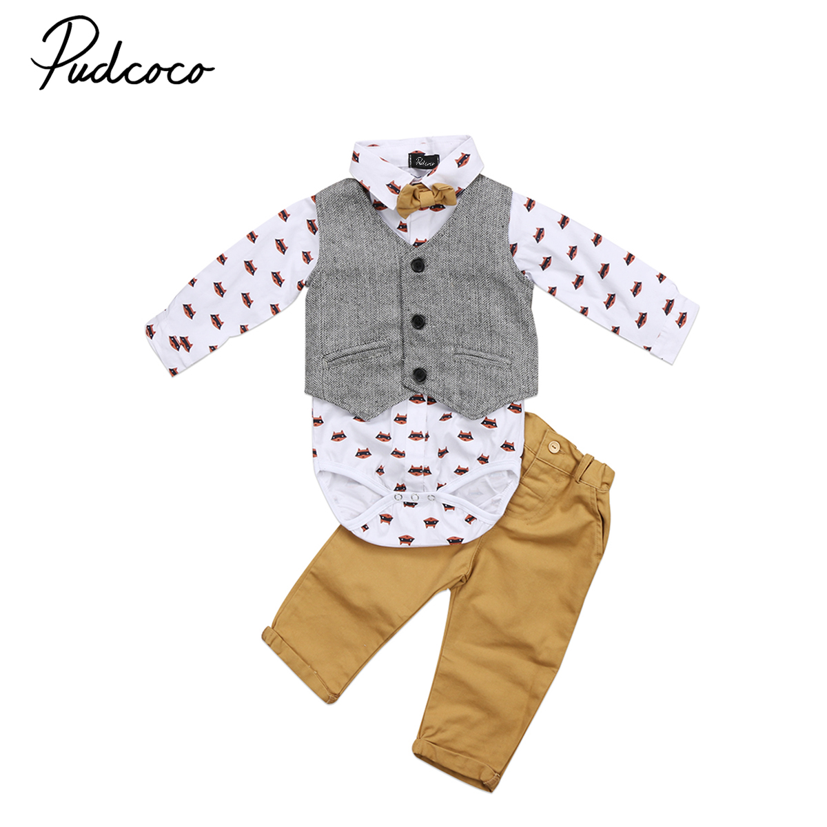 Spring Autumn Boys Gentleman Outfits Newborn Baby Boy Formal Suit Waistcoat Tops Shirt Rompers Denim Pants Set Bowtie Outfit 2018 spring newborn baby boy clothes gentleman baby boy long sleeved plaid shirt vest pants boy outfits shirt pants set
