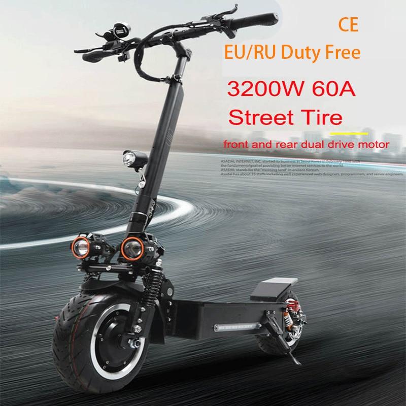 JS 80 KM/H trottinette électrique 60 V 3200 W Rue Pneu Scooter 11 pouces Deux Roues Étanche Adulte Electrico Moteur skateboard électrique
