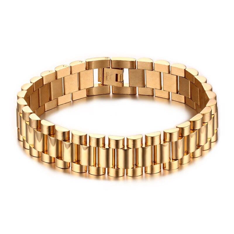 Для мужчин 22 см браслет из нержавеющей стали новый браслет типа ремень браслет Золотое покрытие изделия для мужчин Оптовая Продажа br-201