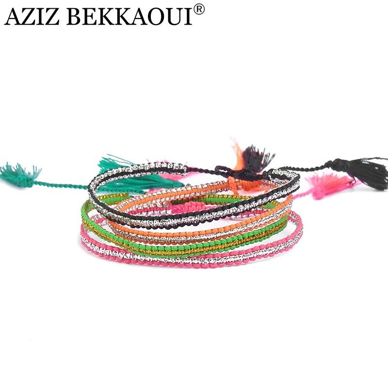 Pure Handmade Style Multicolor Bohemia Bracelets Summer Braided Rope Chain Bracelet Diy Weaving Knotted Bracelets For Women