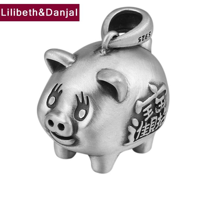 2019 pendentif zodiaque 100% 925 Bijoux En argent Sterling homme femme Gommage Chanceux Fortune Porc Lettre Collier pendentif faire P1