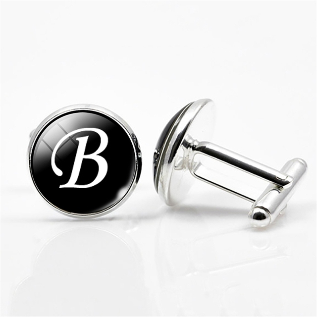 Qcooljly A-z Single Alphabet Cufflinks Silver Color Letter Cufflink Male French Shirt Wedding High