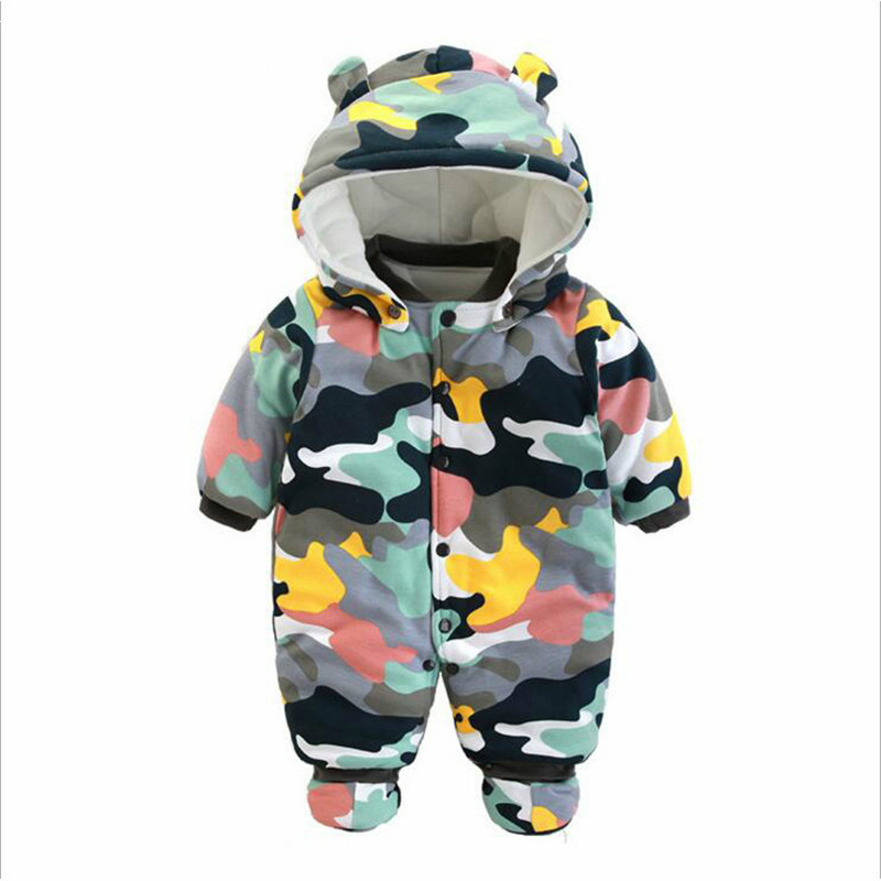 Winter Warm Baby Boy Romper Christmas Thick Baby boy Clothes Long Sleeve Hooded Baby Children Jumpsuit Newborn Outwear for 0-12M newborn baby romper winter clothes hooded cotton outdoor roupas para recem nascido long sleeve baby boy winter thick 607022