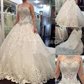 Luxury Ball Gown Halter Crystal Beaded Wedding Dresses Cathedral Church Train Lace Up Bridal Gowns robe de mariee