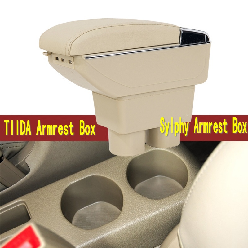 For Nissan Sylphy TIIDA Armrest box central Store content Storage box with cup holder ashtray decoration with USB interface