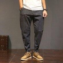 Случайные длинные брюки мужские осень Модный бренд Упругой Большой размер человек Свободные брюки-Карго Твердые хлопок Карандаш гарем брюки Hombre