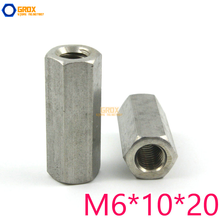 10 Pieces M6*10*20mm Hex Rod Coupling Nut 304 Stainless Steel