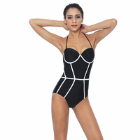 2017 Black White Adult Swim Figures Young Girl Swimwear Swimming Halter Patchwork One Piece Swimsuit Swim
