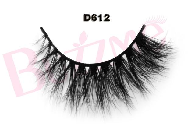 Nova Beleza 1 par 3D D612 vison cílios falsos 100% verdadeira pele de vison falso Handmade indivíduo tira grossa falso lash extensão