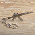 Blucome Hot Games CF Gun Shape Key chains Antique Silver Plated Weapon Models AK 47 Cross Fire Key Chain Chaveiro Toy Bijoux