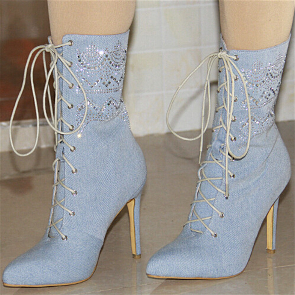 New Popular Women Mid-calf Boots Fashion Pointed Toe Thin Heels Boots Beautiful Sky Blue Shoes Woman US Size 4-10.5 double buckle cross straps mid calf boots