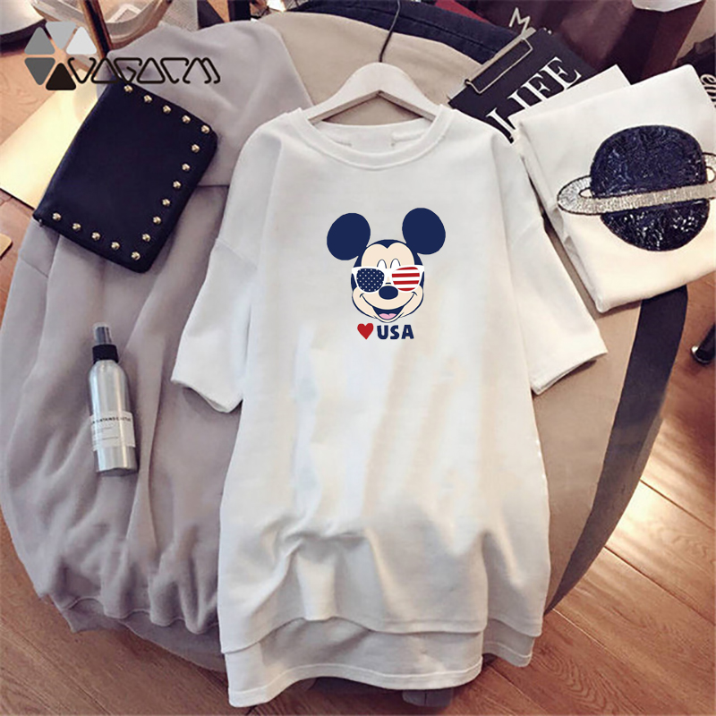 2019 Mickey Mouse Summer Women Dresses Fashion Loose Print Femme Black White Harajuku Mini Dress Plus Size Casual in Dresses from Women 39 s Clothing