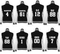 Exo Kpop Autumn College Wind Long Sections Student Hoodies Coat Women Long Sleeved Baseball Uniform Sweatshirts