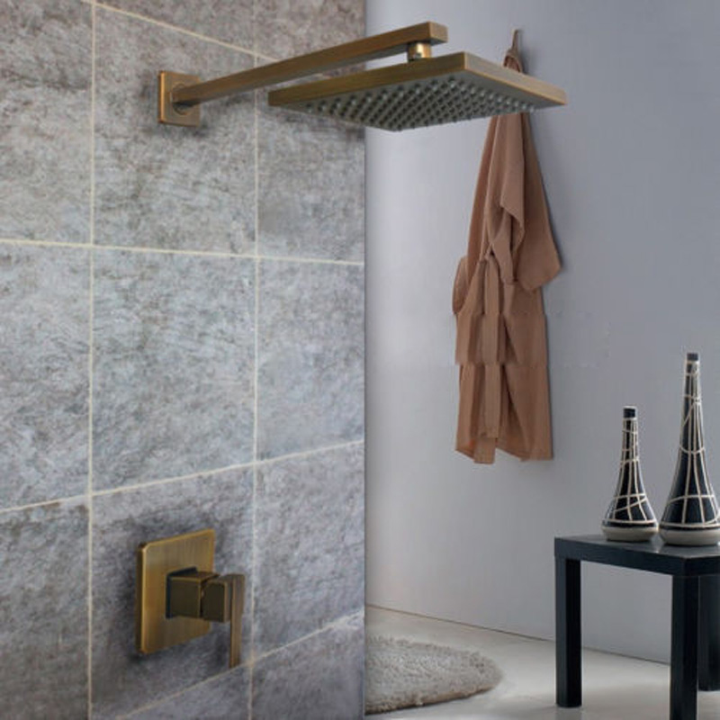 Antique Brass Rainfall Shower Mixer Tap Concealed Install Shower Set ...