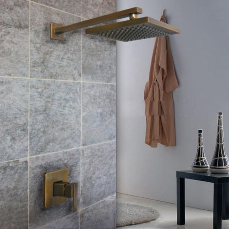 Antique Brass Concealed Install Rainfall Shower Faucet 8-inch Brass Shower Head + Mixer Valve + Brass Shower Arm