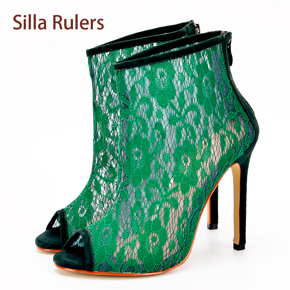 Silla Rulers Summer Spring Gladiator Sandals Women Peep Toe Boots Lace Hollow Out Thin High Heel Shoes Back Zipper Bootie Pumps 2017 hot selling women solid color narrow band open toe hollow out sandals summer fashion back zipper high thin heel dress pumps