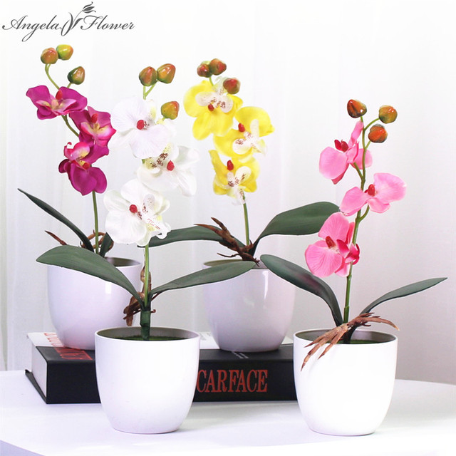 1 Set Phalaenopsis Potted Artificial Orchid Flower With Foam Leaf