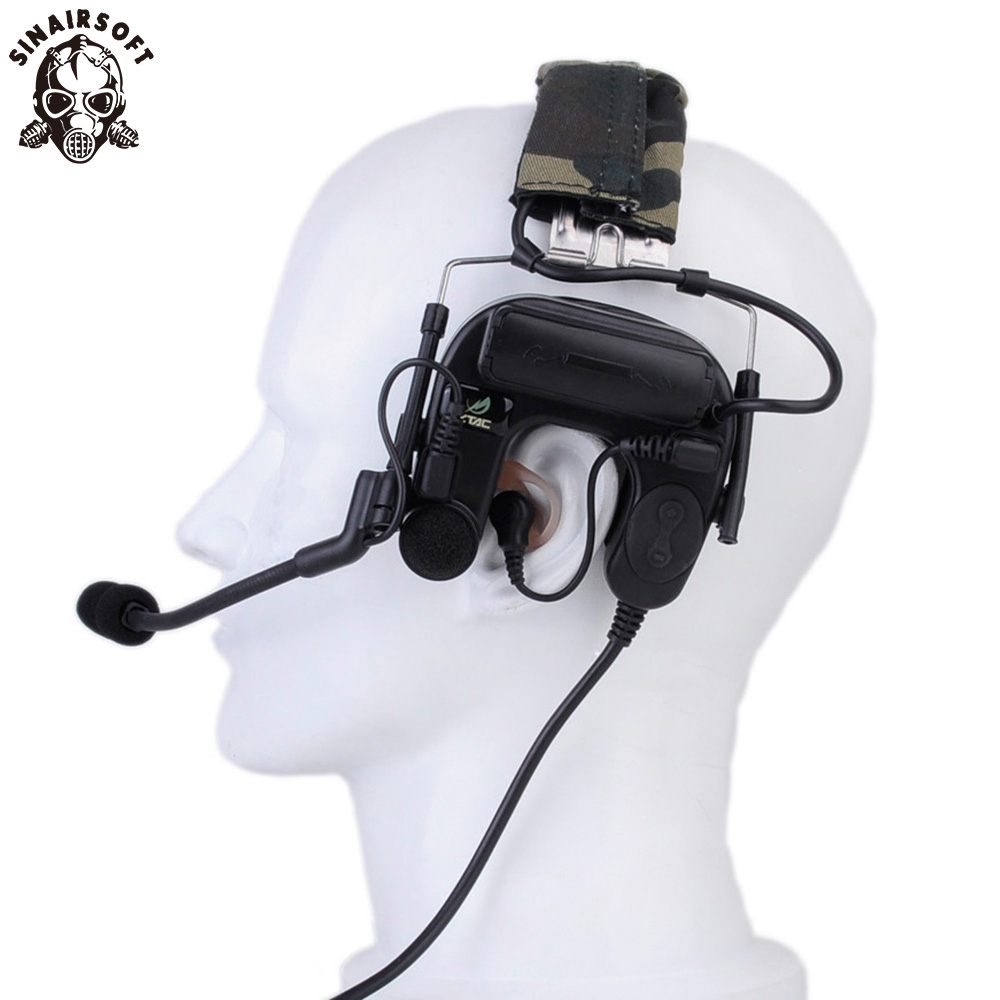 Z Tactical Military Headset zBowman Throat Mic Dual Headphone Paintball Sniper