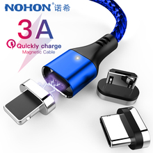 NOHON 3 in1 Magnetic Charger Cables 8Pin For iPhone Xs X XR Max 5 6 7 8s Plus Huawei Xiaomi Samsung Fast Charging Data Cable